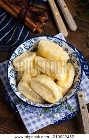 Lazy Dumplings With Cinnamon And Sugar.