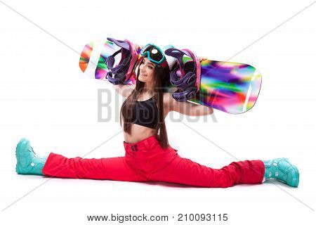 Young Beauty Woman In Black Short Tank Top Hold Snowboard