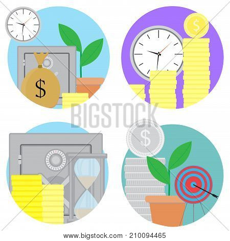 Financial investments and savings icons set. Vector investment finance financial planning and financial security finance growth stock market illustration