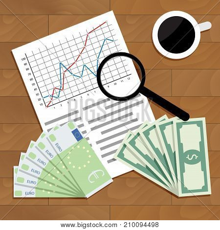 Analysis of trading euro dollar. Trade stock market vector stock exchange stock broker workplace wall street stock exchange illustration