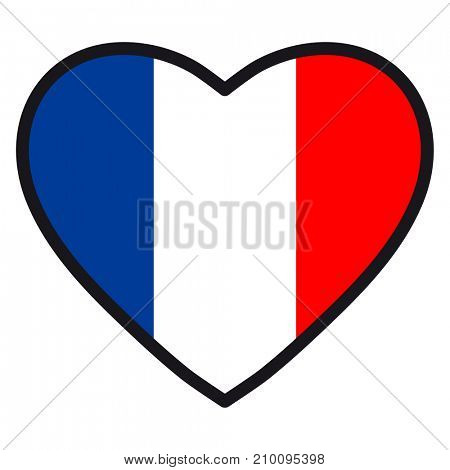 Flag of France in the shape of Heart with contrasting contour, symbol of love for his country, patriotism, icon for Independence Day.