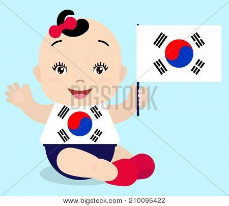 Smiling baby toddler, girl holding a South Korea flag isolated on white background. Cartoon mascot. Holiday illustration to the Day of the country, Independence Day, Flag Day.