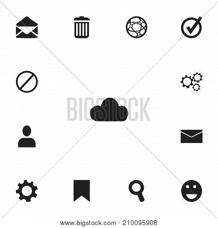 Set Of 13 Editable Network Icons. Includes Symbols Such As Approved, Magnifier, Recycle Bin And More