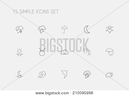 Set Of 15 Editable Air Outline Icons. Includes Symbols Such As Freeze, Thunderstorm, Happy Overcast And More