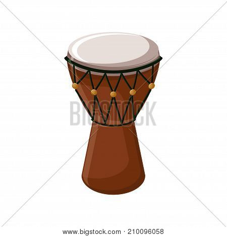 Turkish traditional drum isolated over white background. Cartoon vector illustration in flat style.