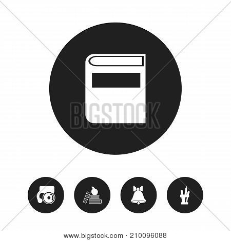 Set Of 5 Editable Education Icons. Includes Symbols Such As Pen Holder, Bell, Literature And More