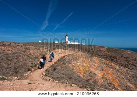 BERLENGA ISLAND, PORTUGAL - September 10, 2017: People visiting the island of Berlenga lighthouse, in Portugal