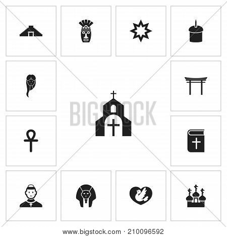 Set Of 13 Editable Religion Icons. Includes Symbols Such As Shinto, Female, Church And More