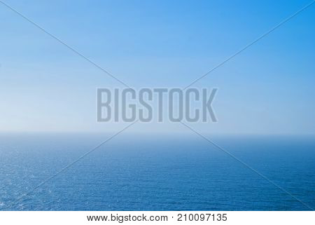 perfect clear blue sky and water of Atlantic Ocean