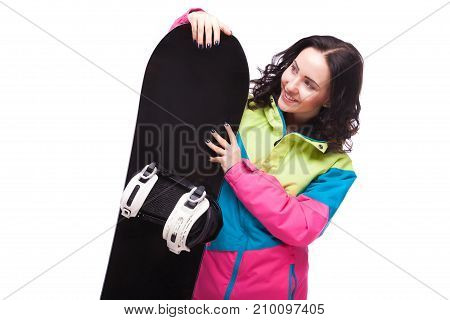Beautiful Young Woman In Ski Outfit And Hold Snowboard