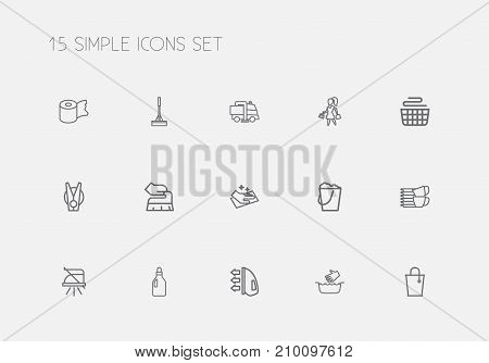Set Of 15 Editable Hygiene Outline Icons. Includes Symbols Such As Swob, Pile, Wiping And More
