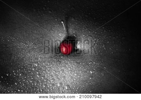 Red Cherry On Bare Navel With Drops Of Water Or Sweat Black And White Photo. Naked Female Body With