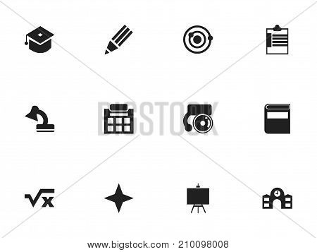 Set Of 12 Editable Knowledge Icons. Includes Symbols Such As Literature, Lamp, Ceremony And More