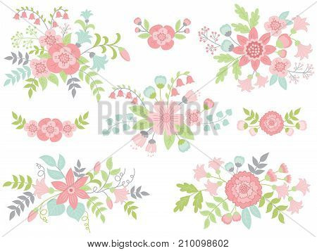 Vector set of floral pastel bouquets and flowers with green and turquoise leaves. Vector floral elements for wedding and birthday. Vector floral bouquet. Pastel bouquets vector illustration