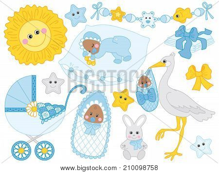Vector set for baby boy shower. Set includes cute African American baby boy, stroller, stork,  sun, diapers  and toys.. Vector baby boy shower. African American baby boy Vector illustration