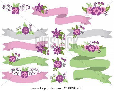 Vector set of floral ribbons. Set includes green, purple and grey ribbons. Vector ribbons. Floral ribbons vector illustration