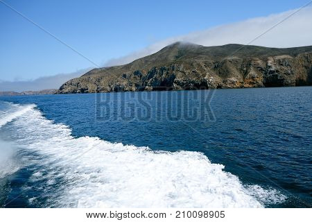 Dark blue waters and steep coast line of Channel Islands in Southern California