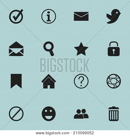 Set Of 16 Editable Internet Icons. Includes Symbols Such As Letter, Network, Security And More