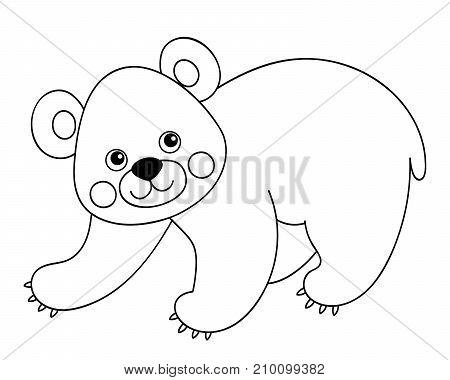 Vector black and white cute cartoon bear. Vector bear cub. Bear vector illustration