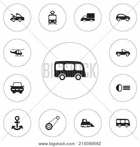 Set Of 12 Editable Transportation Icons. Includes Symbols Such As Camion, Tour Bus, Auto And More