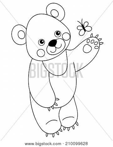 Vector black and white cute cartoon bear with butterfly. Vector bear cub. Bear vector illustration