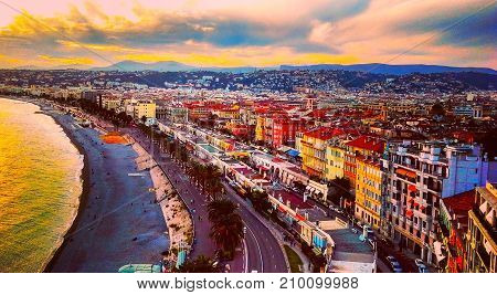 view of sunset at sea of Mediterranean Sea Bay of Angels Cote d'Azur French Riviera Nice France