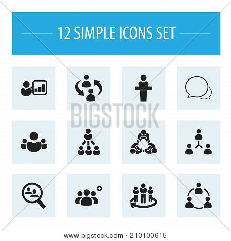 Set Of 12 Editable Community Icons. Includes Symbols Such As Friendship, Speaker, Human Resouces And More