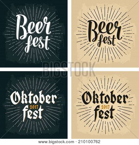 Oktoberfest 2017 and Beer Fest lettering with rays. Vector vintage engraving illustration on dark and beige background