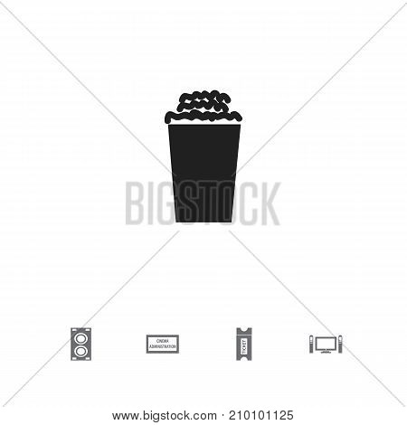 Set Of 5 Editable Filming Icons. Includes Symbols Such As Coupon, Home Cinema, Popcorn And More
