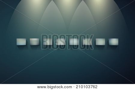 Eight block shelves on a dark wall with shadows and light for infographics. Small blocks for presentation and exhibition of objects. Row of empty shelves for displaying goods or services. EPS 10