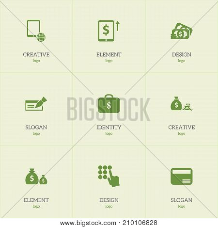 Set Of 9 Editable Financial Icons. Includes Symbols Such As Payment, Banknote, Loan And More