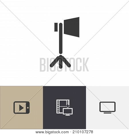 Set Of 4 Editable Cinema Icons. Includes Symbols Such As Television, Display Unit, Tablet Play And More