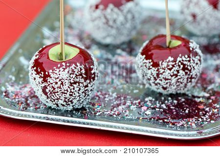 Beautiful Of Sweet Red Apples In Caramel Sugar Exposed For Sale