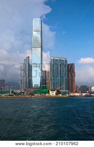 HONG KONG - OCTOBER 2: Victoria harbor on October 2, 2017 in Hong Kong, China. Victoria Harbour is a natural landform harbour situated between Hong Kong Island and Kowloon in Hong Kong.