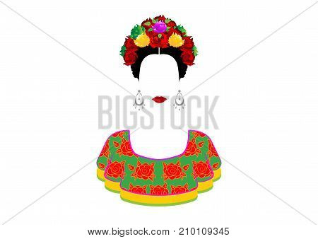 Portrait of the young beautiful mexican woman with a traditional hairstyle. Mexican crafts earrings, crown of flowers and red flowers, Traditional Mexican dress, death's day. Vector isolated