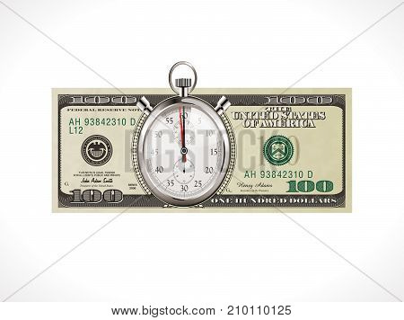 One hundred dollars - United States currency - time is money concept