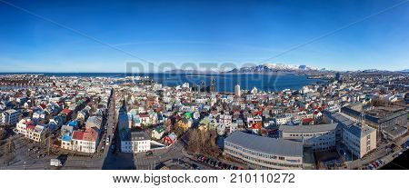 Reykjavik panorama seen from the top of Hallgrimskirkja Cathedral, Iceland,