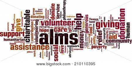 Alms word cloud concept. Vector illustration on white