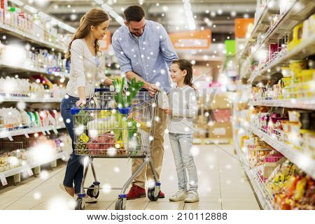 sale, consumerism and people concept - happy family with child and shopping cart buying food at grocery store or supermarket over snow