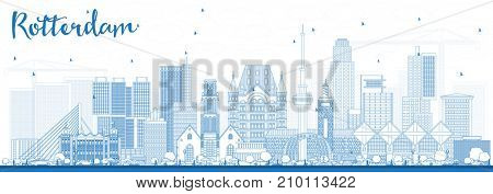 Outline Rotterdam Netherlands Skyline with Blue Buildings. Business Travel and Tourism Concept with Modern Architecture.