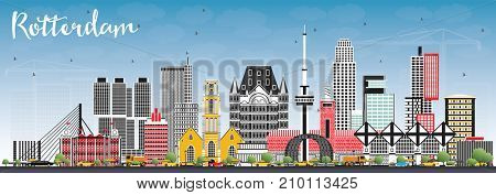 Rotterdam Netherlands Skyline with Gray Buildings and Blue Sky. Business Travel and Tourism Concept with Modern Architecture.