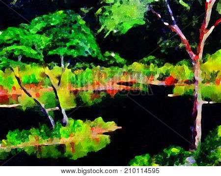 very nice original painting of a swamp