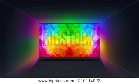 illustration of tv on dark background with bright picture on screen and colorful light around tv