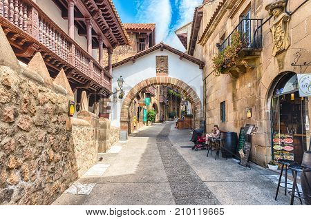Architecture Of Poble Espanyol On Montjuic Hill, Barcelona, Catalonia, Spain