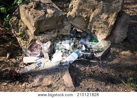 View of garbage on forest