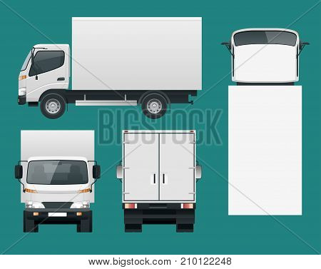 Cargo Truck transportation. Fast delivery or logistic transport. Easy color change. Template vector isolated on white View front, rear, side, top.