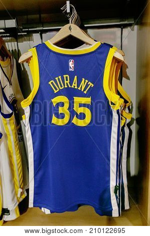 New York October 20 2017: Replica jersey of Kevin Durant of Golden State Warriors on sale in the NBA store in Manhattan.