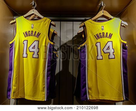 New York October 20 2017: Replica jersey of Brandon Ingram of Los Angeles Lakers on sale in the NBA store in Manhattan.
