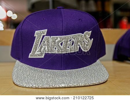 New York October 20 2017: Los Angeles Lakers hat on sale in the NBA store in Manhattan.