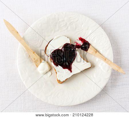 Toast with heart jam